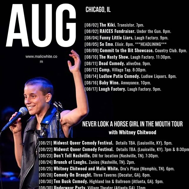 And HERE are my Chicago August dates! I'm headlining @soemolol and hosting @funnylittleliarsshow this month! I'm also hosting something else...but that one will be a surprise! . . . . . . . . . . #comedy #standup #standupcomedy #comedian #chicagocomedy #queercomedian #queercomedy
