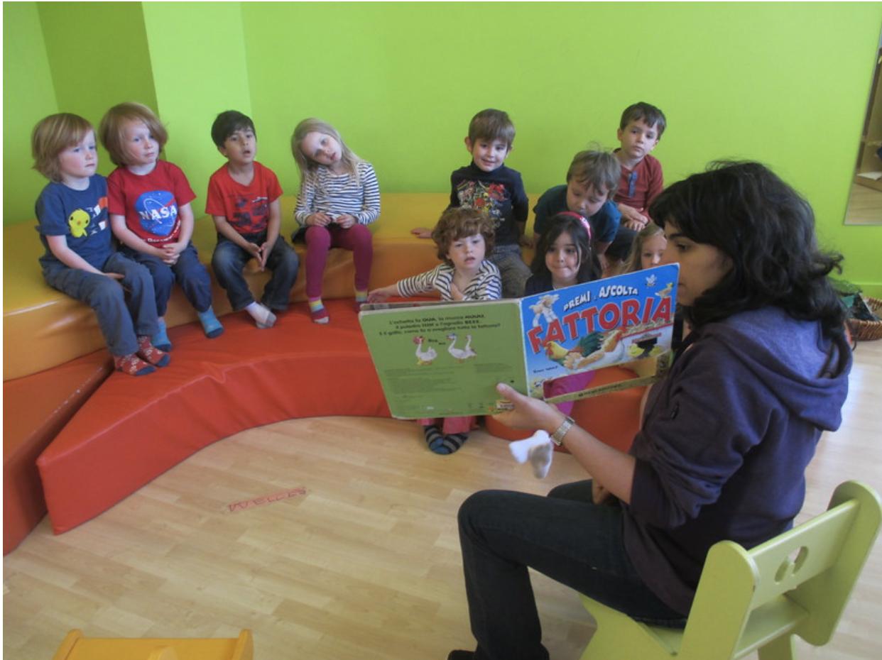Preschoolers learning Italian at La Scuola, an International language school in San Francisco .