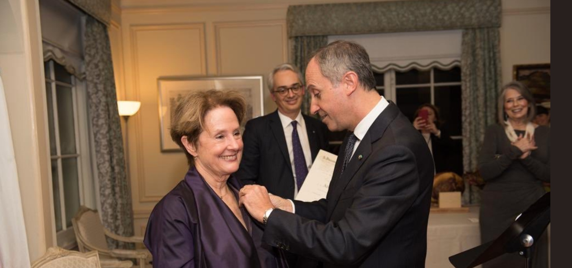 Alice Waters bEing Knighted given the honor of Cavaliere dell'Ordine al Merito della Repubblica Italiana by Italy's Ambassador to the United States, Armando Varricchio.