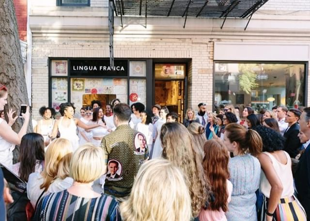 Never forget that time @linguafrancanyc shut down Bleecker street for the launch of the collaboration with @tinypricksproject⠀⠀⠀⠀⠀⠀⠀⠀⠀ RP: @linguafrancanyc