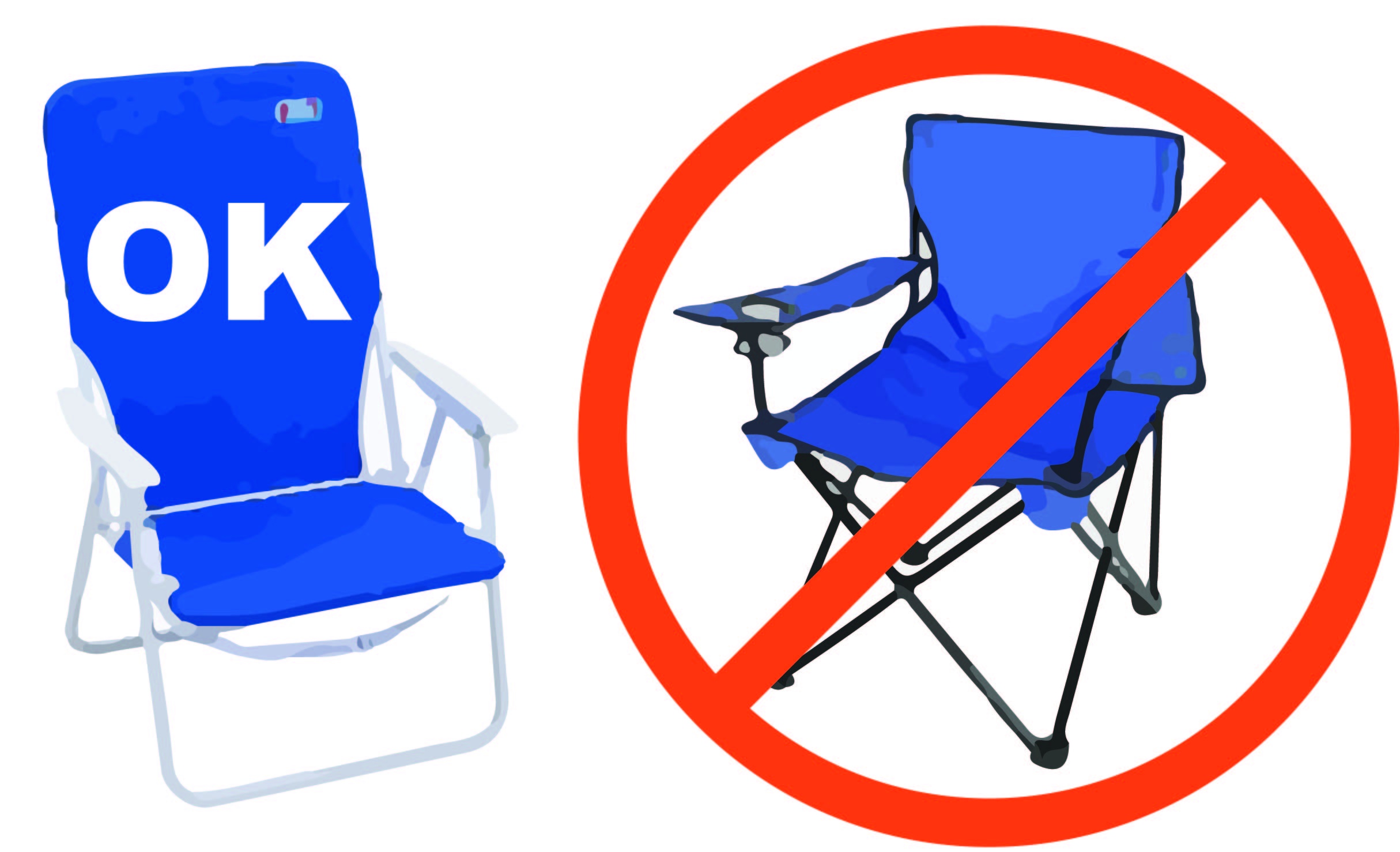What chair to bring? - Please only bring beach chairs on the football field! Camping chairs are not allowed.