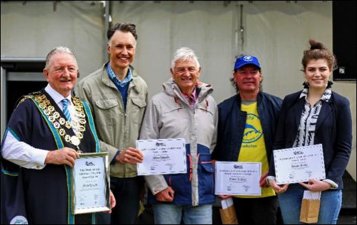 From Left: Mayor Cr Colin Hampton, Impact Treasurer Craig Stephens, Alan Quaife, Peter Talbot, Bride Keily.  Photo courtesy of Steve Brown