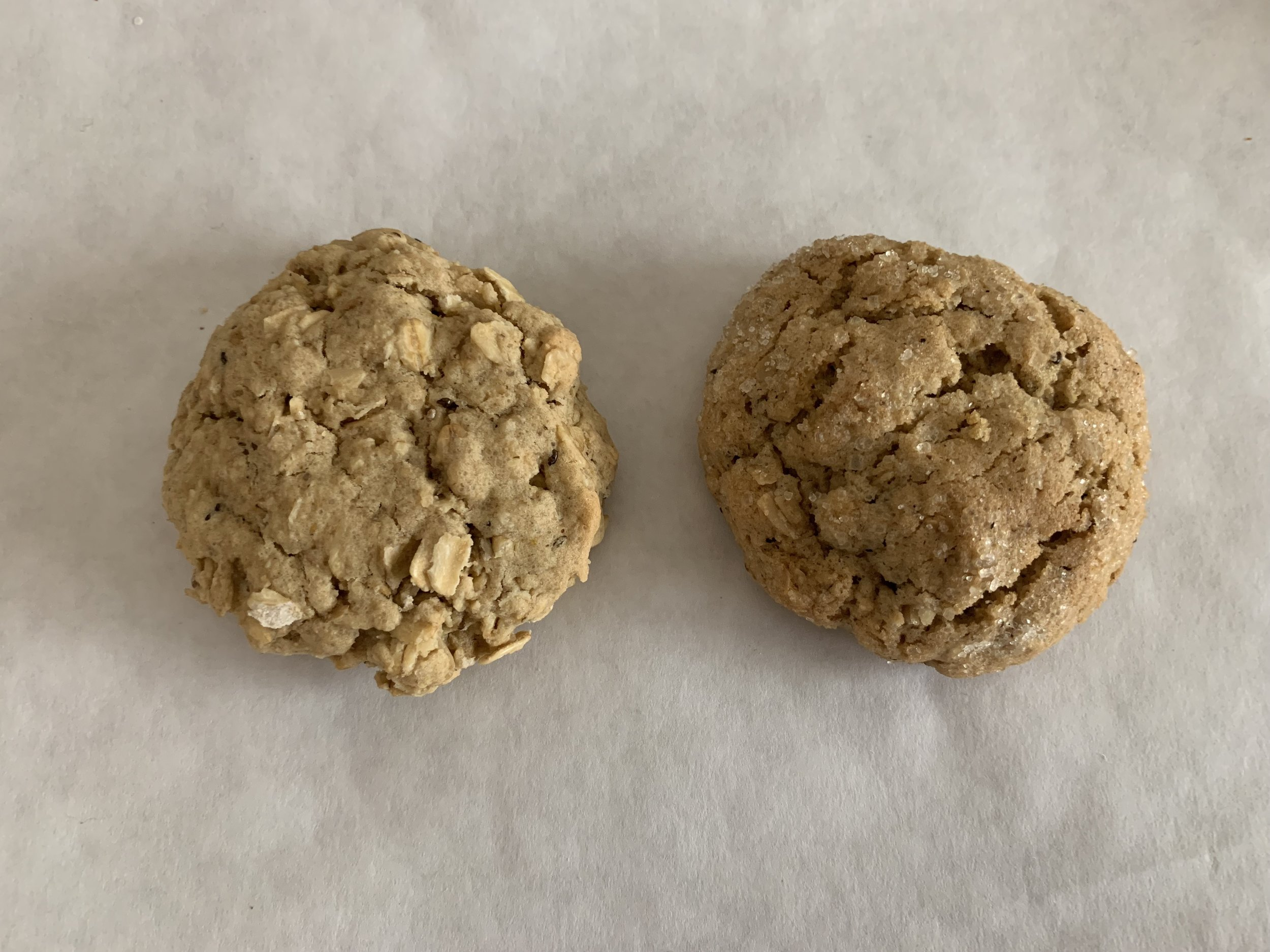 Pictured Left:  The final recipe  Pictured Right:  My first attempt. I still recommend it if you prefer a less oaty cookie.