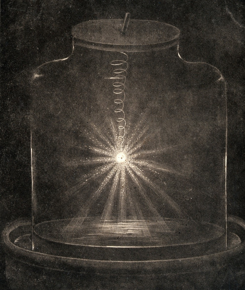 A piece of steel wire burning in oxygen inside a glass jar. Mezzotint, 1809. Wellcome Collection.