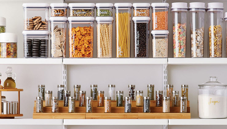Again, use clear containers for kitchen items.