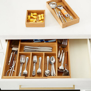 Silverware drawer organizers are a must.