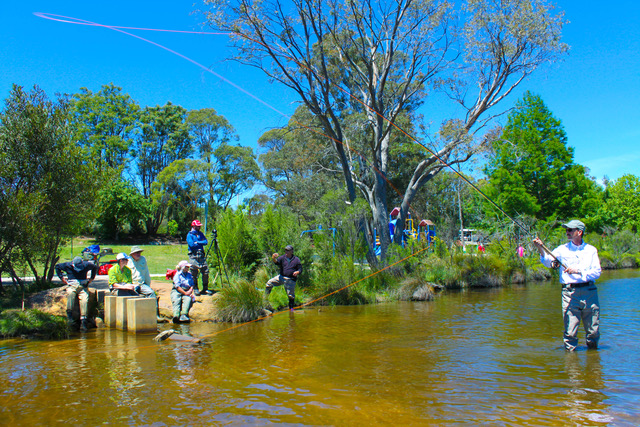 Mark Huber conducting a Spey casting clinic in Australia in 2016.