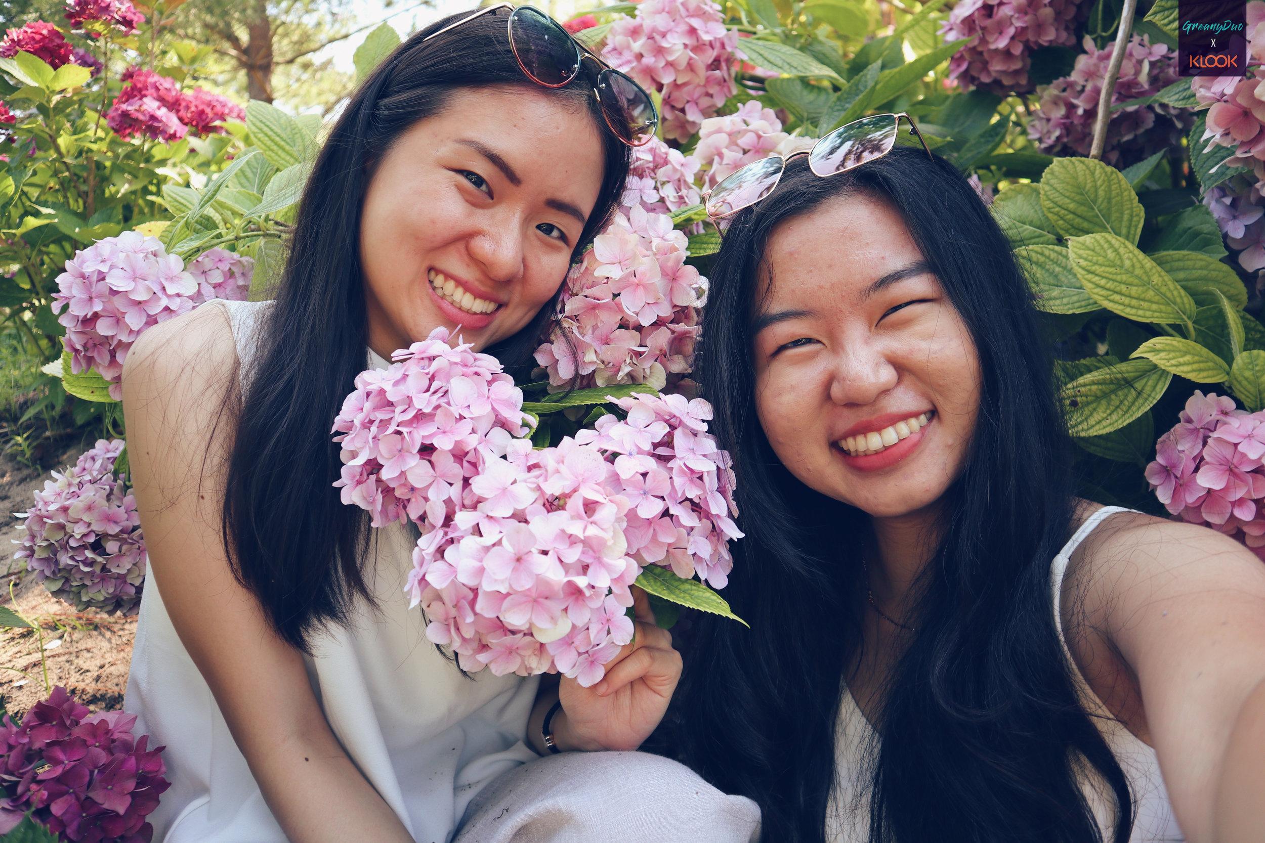 jenny and tina posting with hydrangea flower at hallim park, jeju