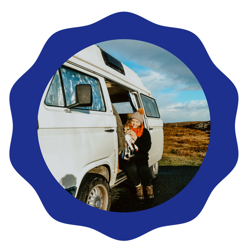 Hi! My name is Carrie - my furry companion is Dougie and the beautiful VW T25 campervan is Peggy. Together we are researching masculinity in men's mental health in the UK and her European counterparts.