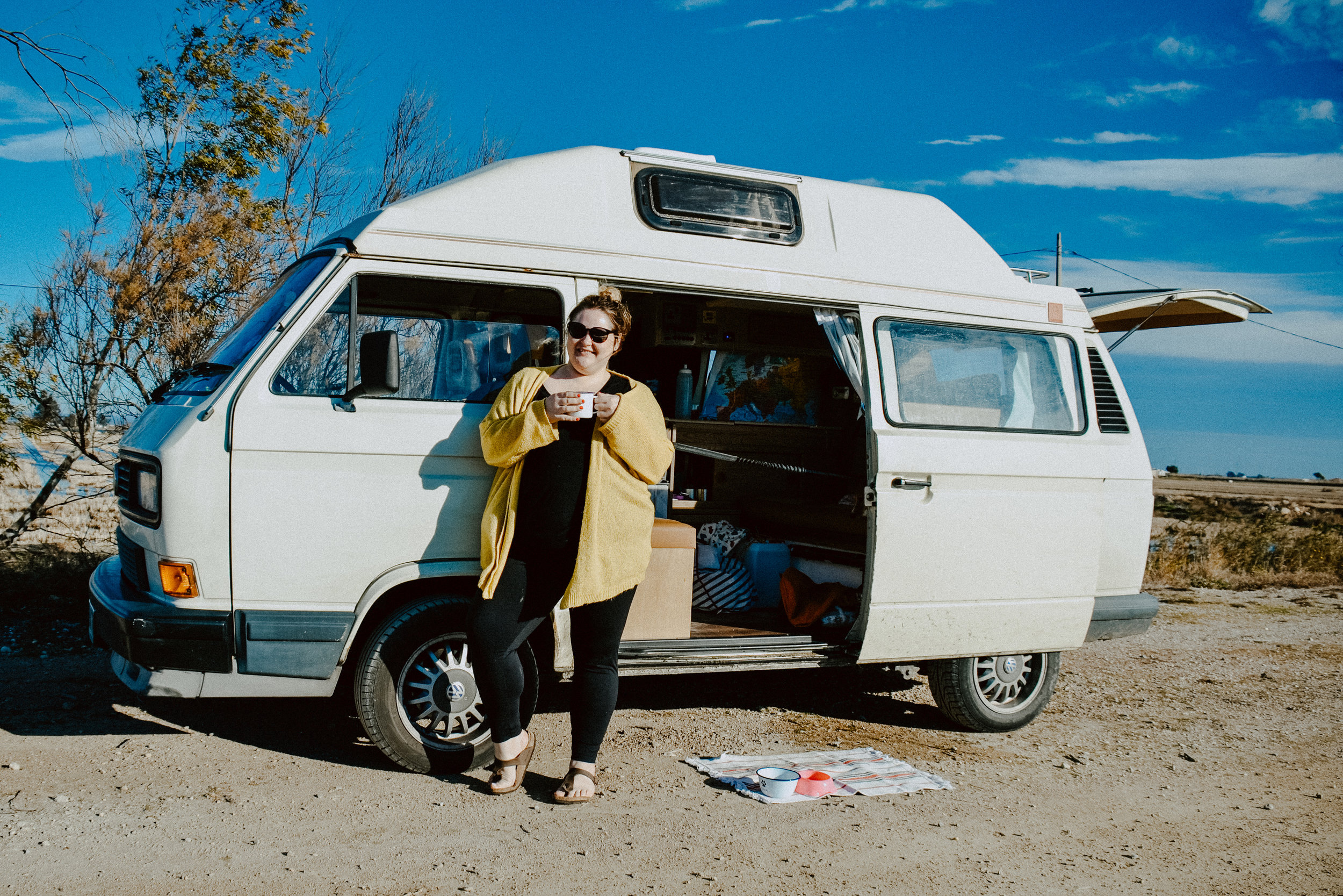 Carrie in the campervan