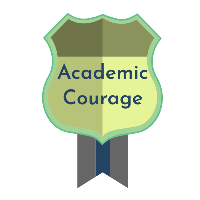 Recommended Award Message:  Congratulations! You have earned the Badge of Academic Courage. You have improved your overall course grade by more than 25% since the mid-term.
