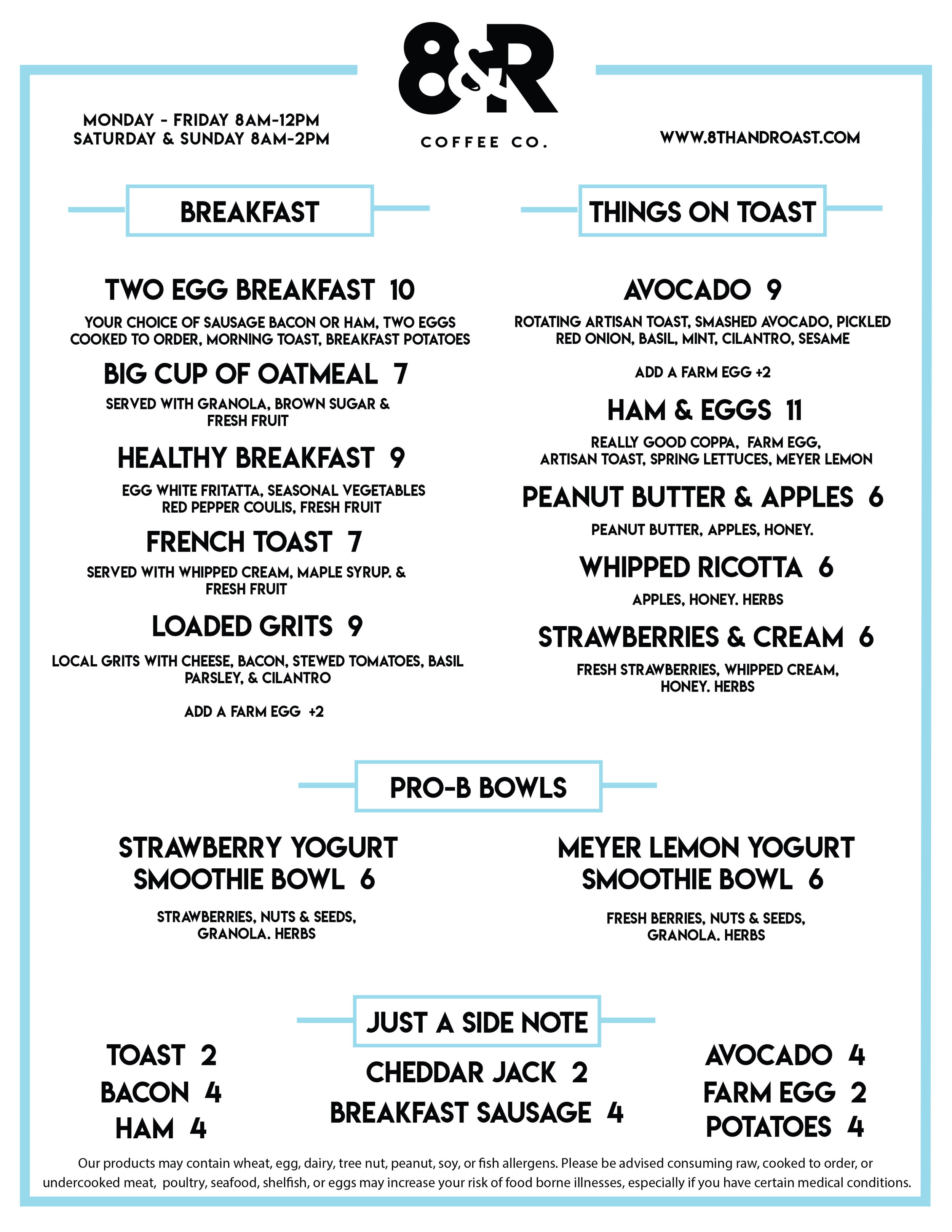 8th and Roast Brunch Menu