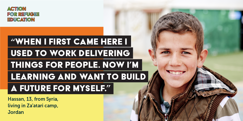 TWEET THIS   Just like Hassan ALL refugee children deserve a chance to go to school! At #UNGA this year, govts, private sector, donors & charity sector are coming together to deliver on their commitments to achieve #SDG4. Here's how> https://www.actionforrefugeeeducation.net/ #RefugeeEducation