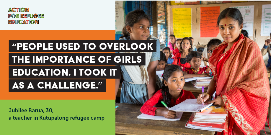 TWEET THIS   Teachers in refugee contexts need training, the right pay & support to meet the complex education and wellbeing needs of refugee girls. Let's increase action for teachers AND refugee girls at #UNGA2018 See how here> https://www.actionforrefugeeeducation.net/ #RefugeeEducation