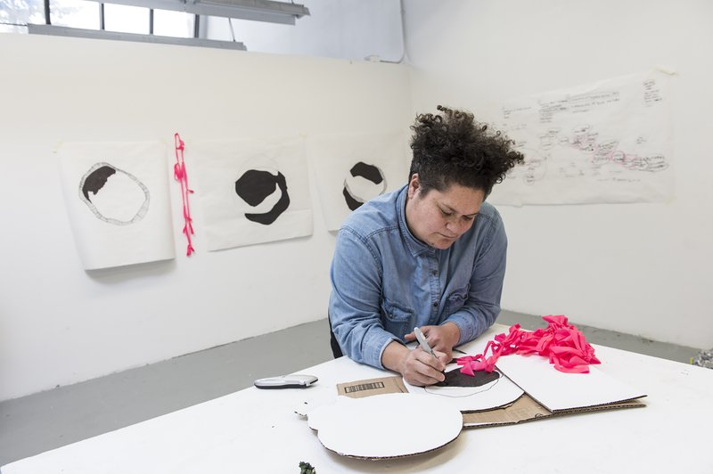 Salote Tawale in her studio during the Indigenous Visual and Digital Arts Residency at the Banff Centre, February 2016. Photograph by Rita Taylor.