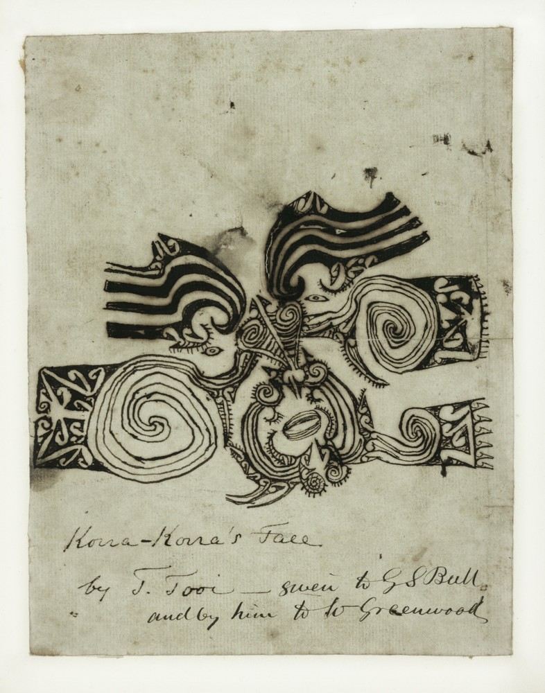 Tooi [Tuai], Drawing of Korokoro's moko, 1818. Paper, 30 x 50 cm. Sir George Grey Special Collections, Auckland Libraries, GNZMMS-147