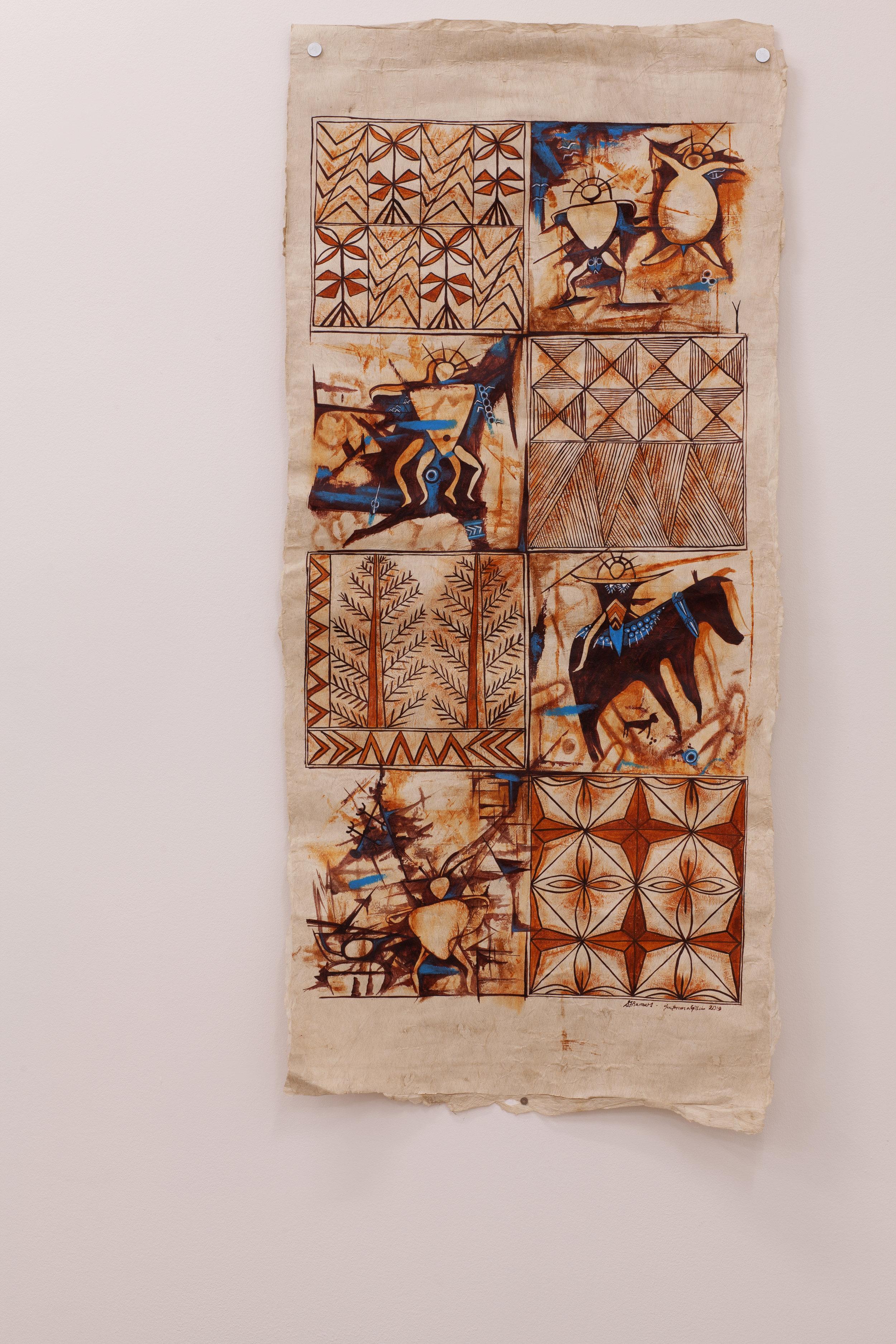 Tataki ʻe he Leá (Guided Language) , Ngatu (Tongan barkcloth), 600mm x 1070mm, 2019 Image: ©2018 Crystal Te Moananui Squares