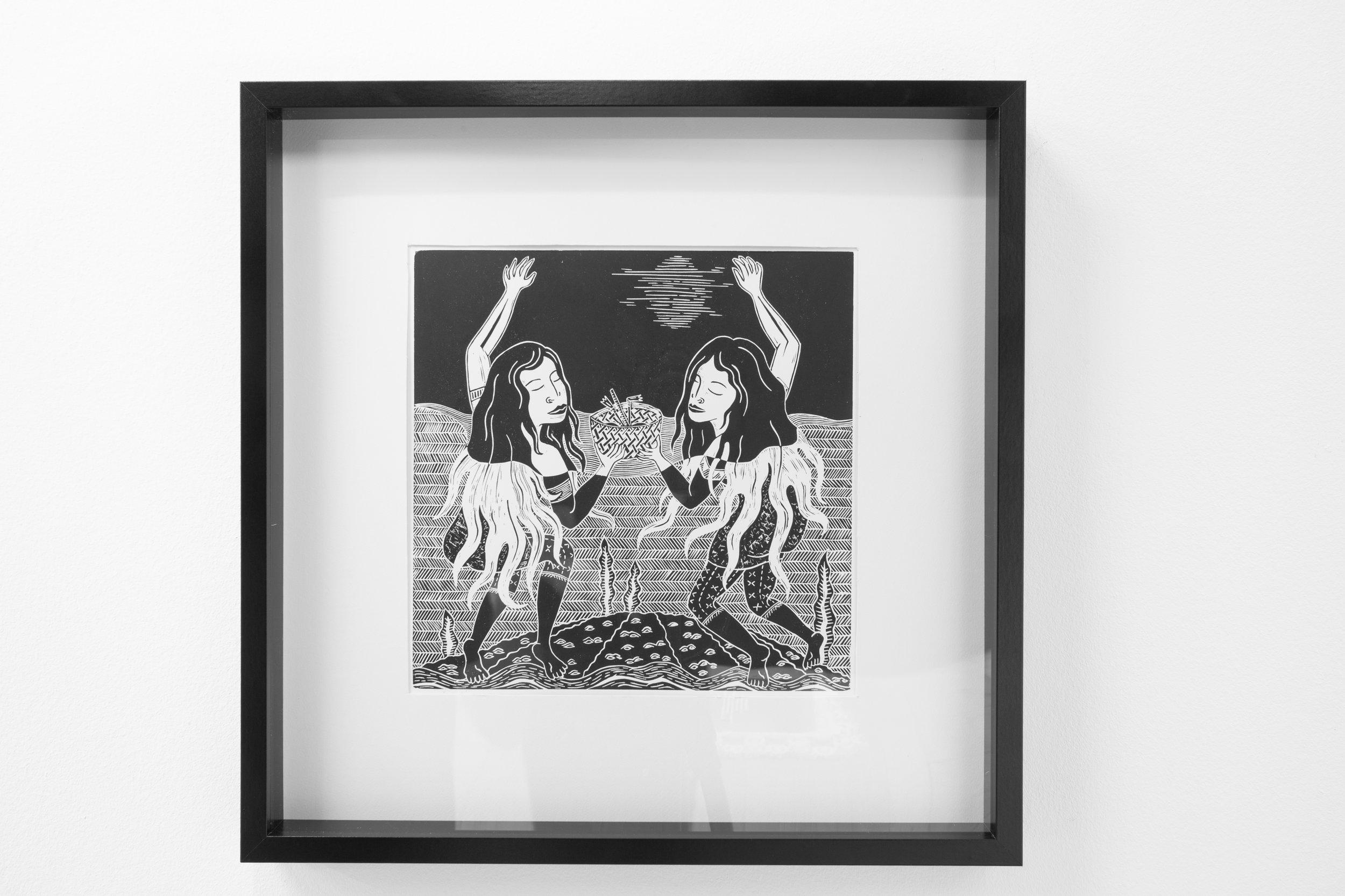 10a:  Mana Tatau , Lino block, ink; 50mm x 50mm, 2019 Image: ©2018 Crystal Te Moananui Squares