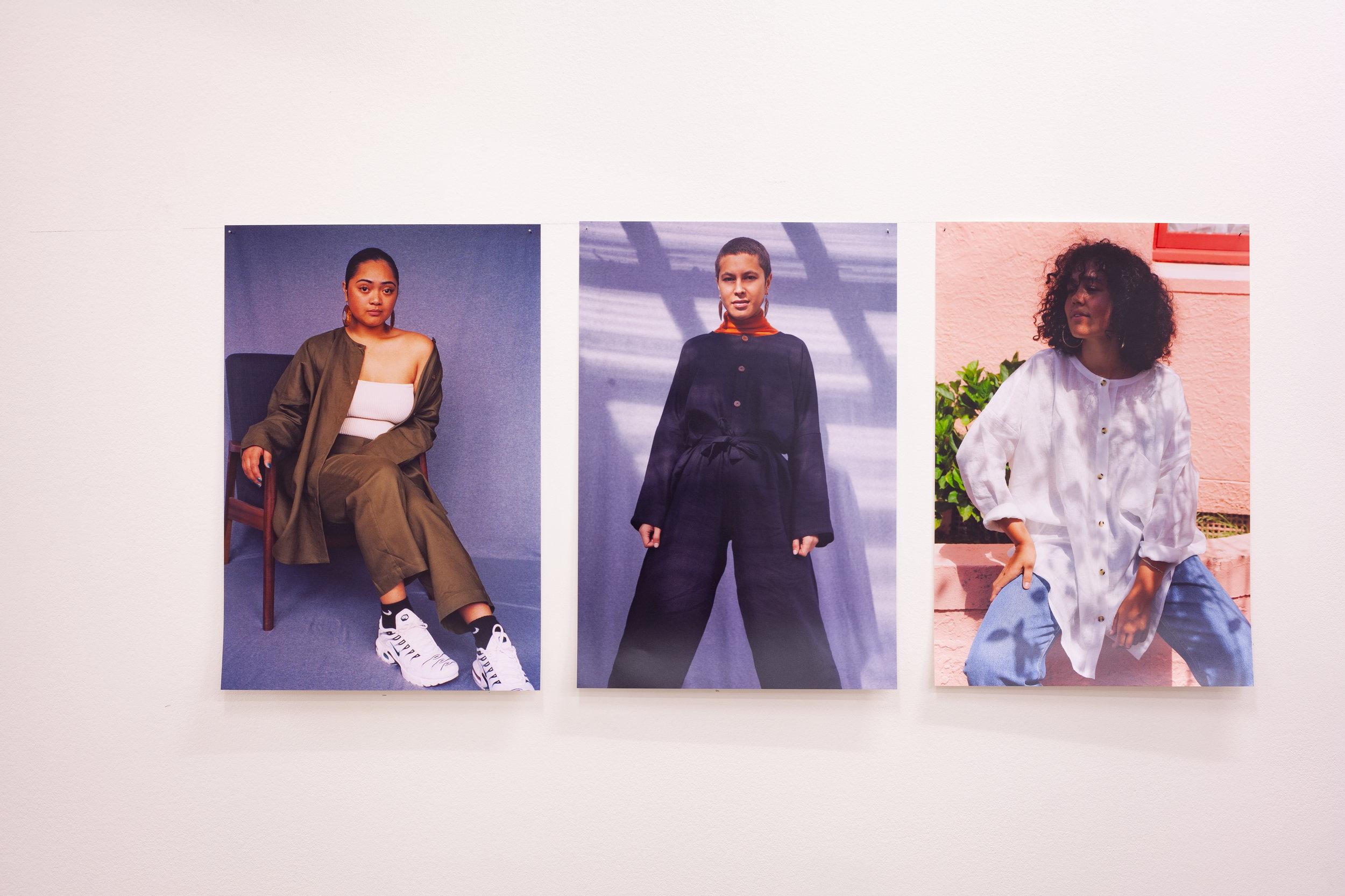 Maia / Leah / Kama , 2019, x 3 C-type, Fuji Matte digital prints, 420mm x 594mm, Image: ©2018 Crystal Te Moananui Squares
