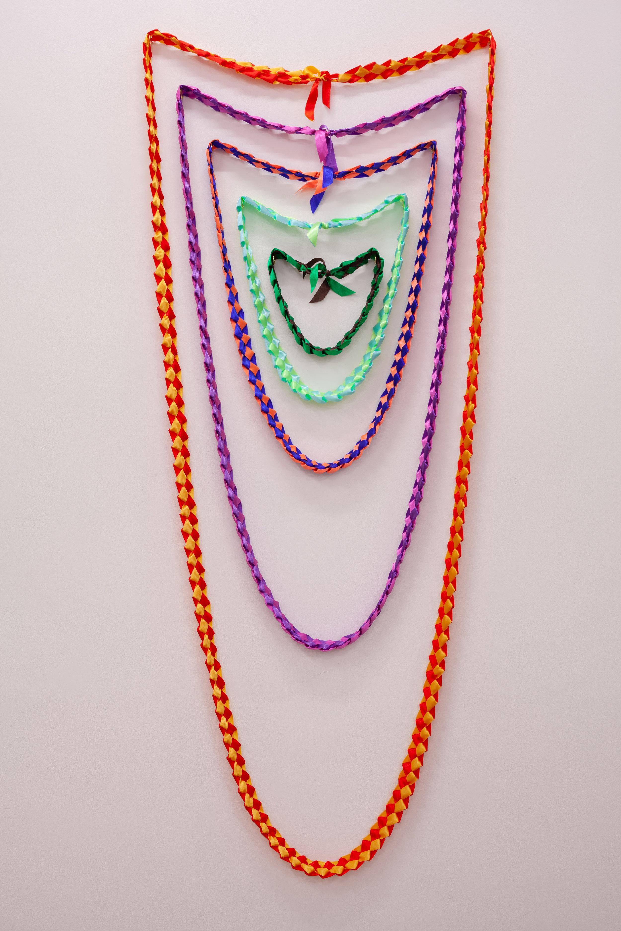Lei Aloha , Ribbon, 90cm x 195cm, 2019 Image: ©2018 Crystal Te Moananui Squares