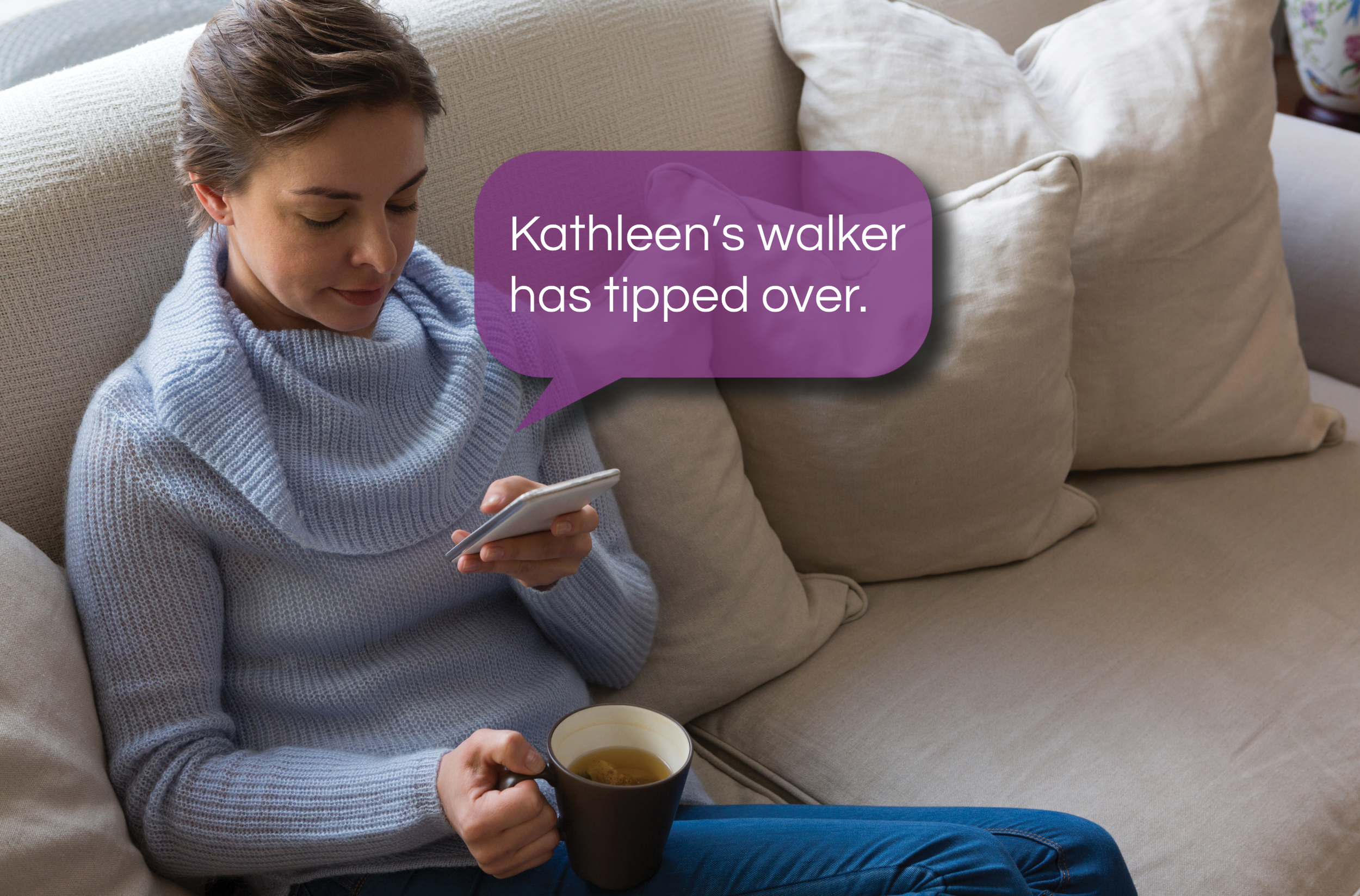 We keep you connected. - With the WalkWise app, family members have access to 24/7 activity data. Not only does this data keep seniors independent, it's also a great conversation starter. If something goes wrong (like the walker tipping over) get an instant alert so you can check in on them.