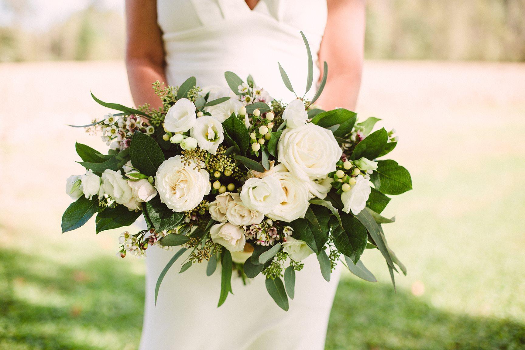 White and green bouquet - Cincinnati bride - White bridal bouquet