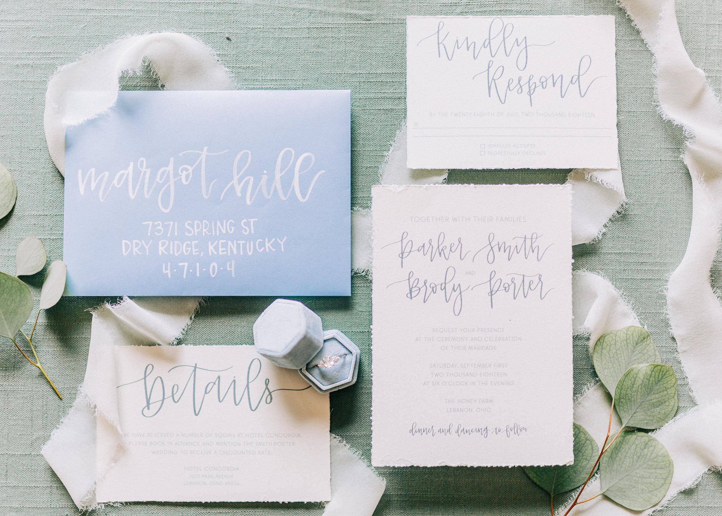 Blue and White Wedding Invitations - Columbus Wedding Planner - Dayton Wedding Coordinator