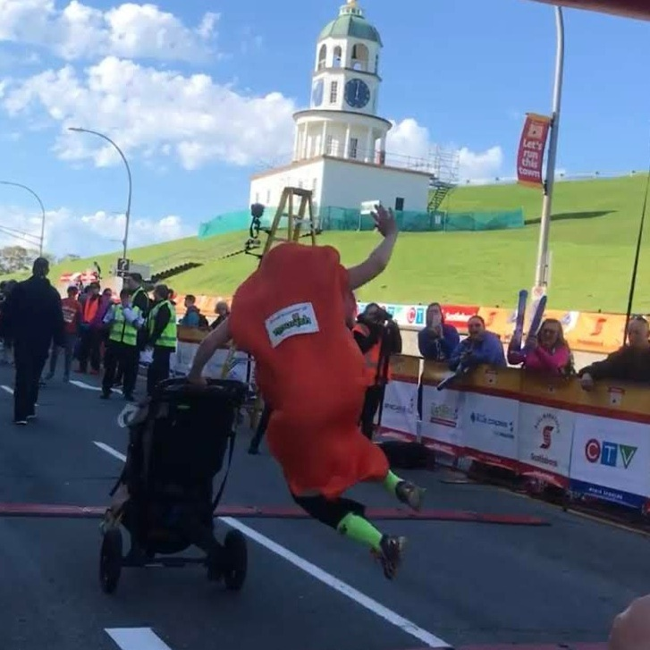 Crunchy crossing the finish line with a feisty heel kick!
