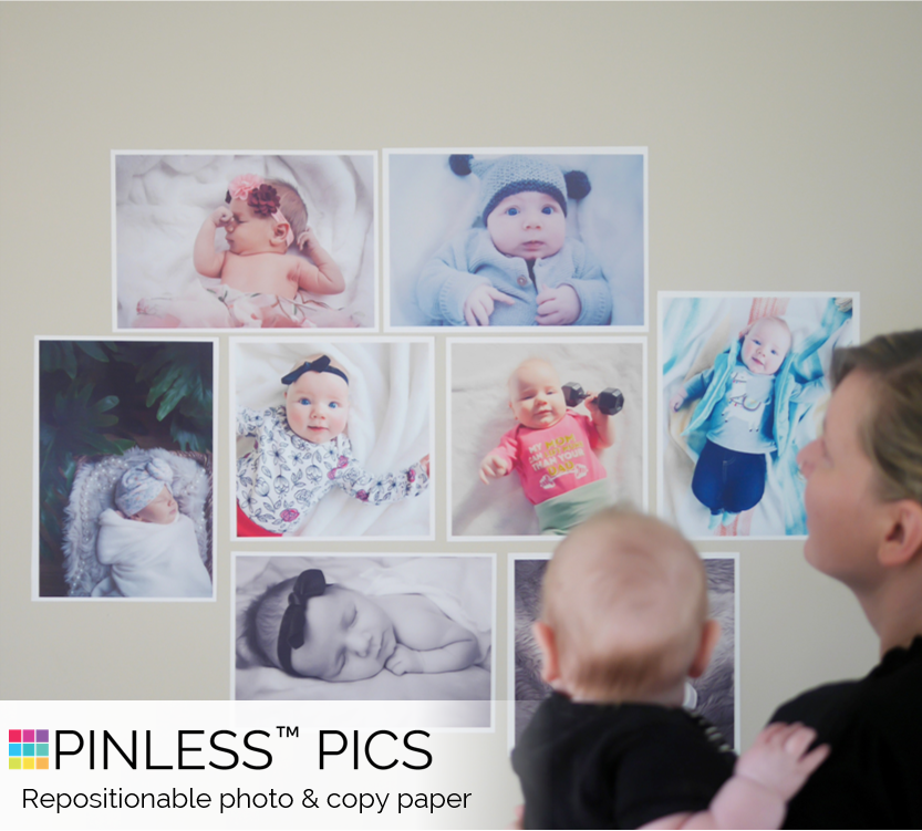 Home printable photo paper can be displayed like never before — no other product offers the combination of print quality, robust adhesion, and removability as Pinless Pics with ShearGrip dry adhesive.