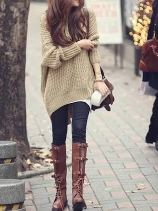 Apricot Hooded Dolman Batwing Long Sleeve Irregular Thick Knitted Jumper Sweater  by Cichic