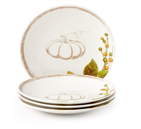 Harvest Sentiment™ Pumpkin 4-piece Tidbit Plate Set by Lenox   Perfect for autumn parties, the Harvest Sentiment™ Pumpkin 4-piece Tidbit Plate Set is ideal for appetizers, deserts, or whatever.  $39.95 (40% off right now)