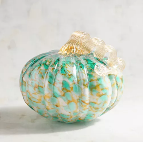 """Grateful Harvest Collection Blue & Amber Medium LED Light-Up Glass Pumpkin by Pier 1     (On clearance now for only $12!) Our gorgeous, handblown pumpkins are lit with a continuous, single-color LED—an eye-catching accent for mantels and tables. Multicolor, Medium: 7.09""""Dia x 5.12""""H, Large: 7.87""""Dia x 10.24""""H, Glass, Handblown, 1 LED, LED - timer included."""