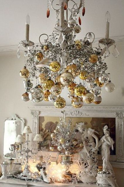 Refined Gold and White Christmas Decor Ideas via Digs Digs