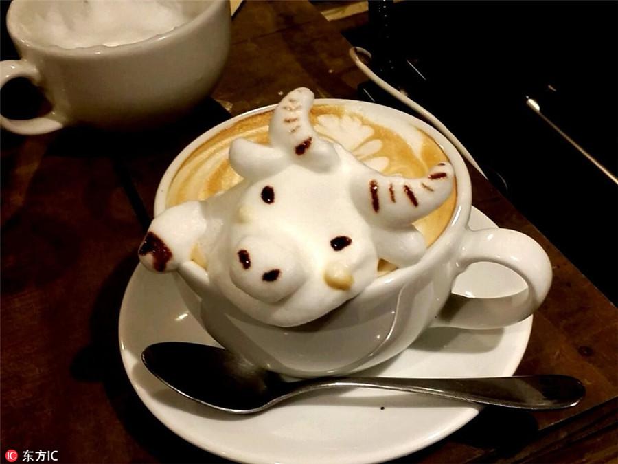 3D Cow by Barista Kazuki Yamamoto via ChinaDaily