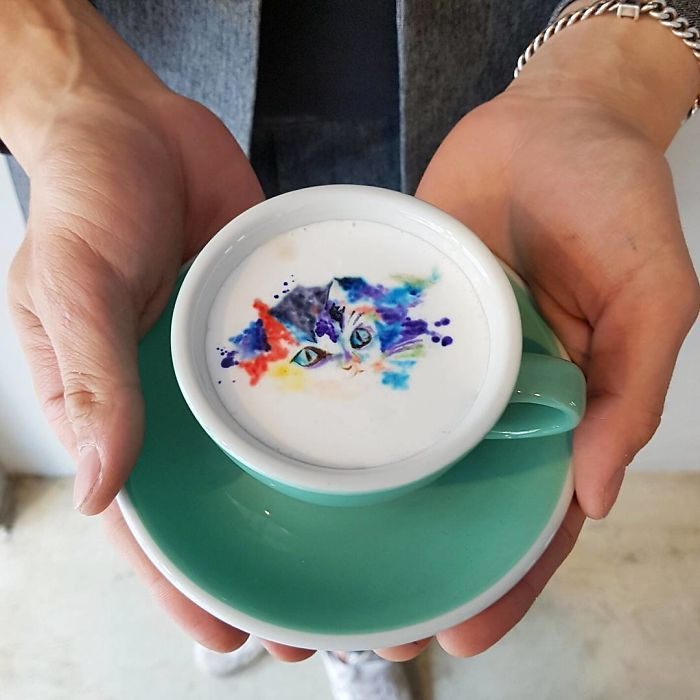 Colorful Kitty Latte Art by Leekang Bin