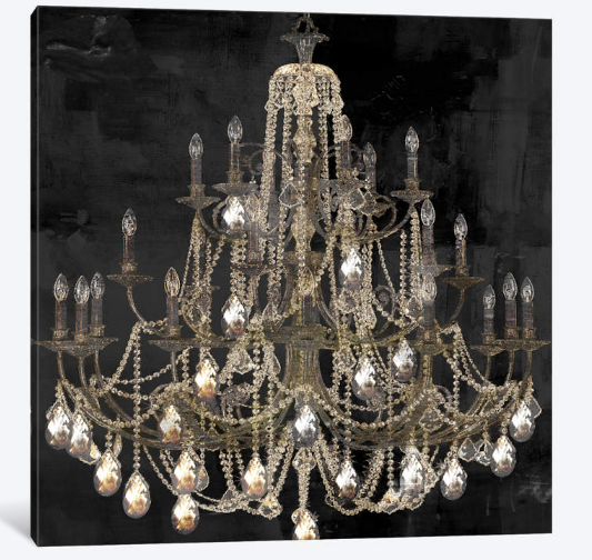 """iCanva- Canvas - Dancing On The Ceiling I  Light and dark play beautifully across this elegant modern print. """"Dancing on the Ceiling I"""" captures a slightly off-center view of a gorgeous three-tiered chandelier decked in cascading crystalline strands of gold. Bright crystal pendants shine in unexpected contrast to the unlit bulbs that trace delicate white silhouettes against the shadowed grey and black background. The perfect sparkling touch for a dining room or entryway."""