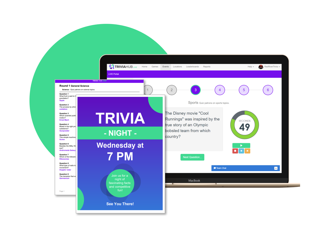 Prepare in minutes - Print all supporting handout materials including hosting instructions, player answer sheets, trivia night rules, and promotional event posters.
