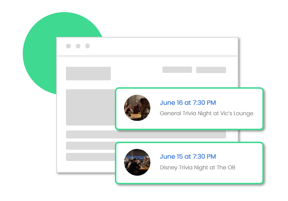 Public Event Calendar - Gain additional exposure across the internet with a public event calendar on the TriviaHub Live marketing website.