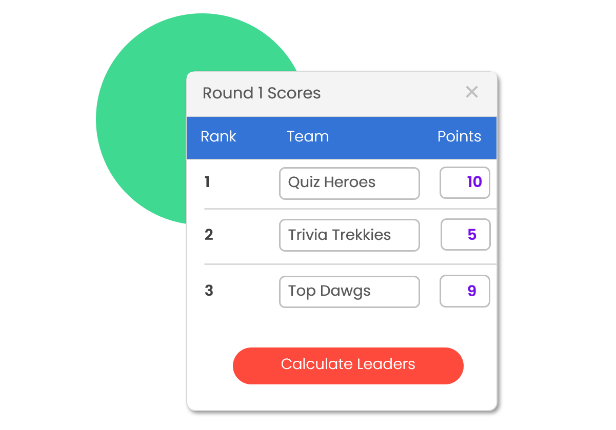 Automated Scoring - Just enter the number of points each team scored during the round and your total scores and current leaders will be automatically calculated for you.