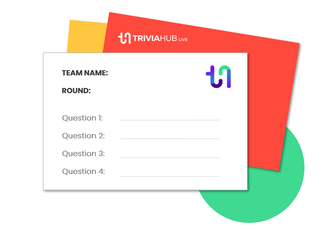 Player Answer Sheets - Everyone needs a way to provide their answers to you and TriviaHub Live comes with an easy-to-use answer sheet template.