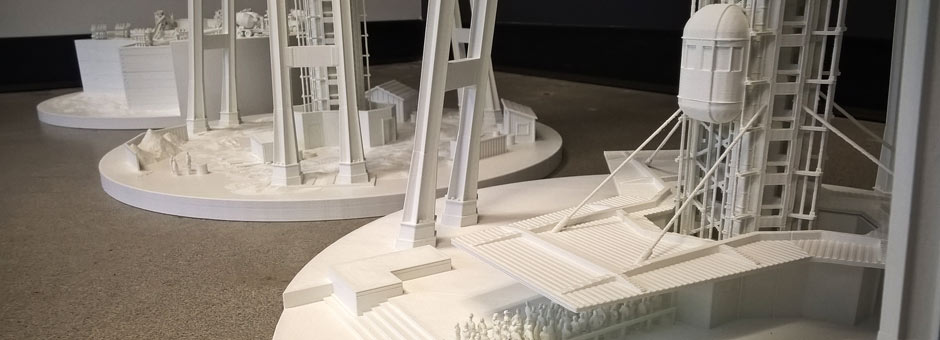 Three Space Needle model foundations
