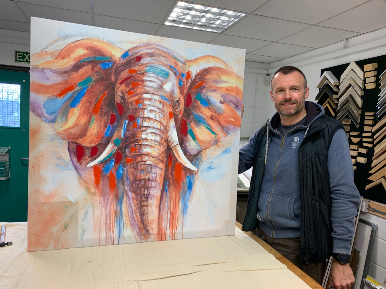 Recent framing job, a canvas from Africa bought home from holiday that client wanted stretched and ready to hang in their home.