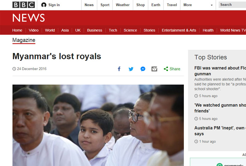 BBC Magazine: Myanmar's Lost Royals