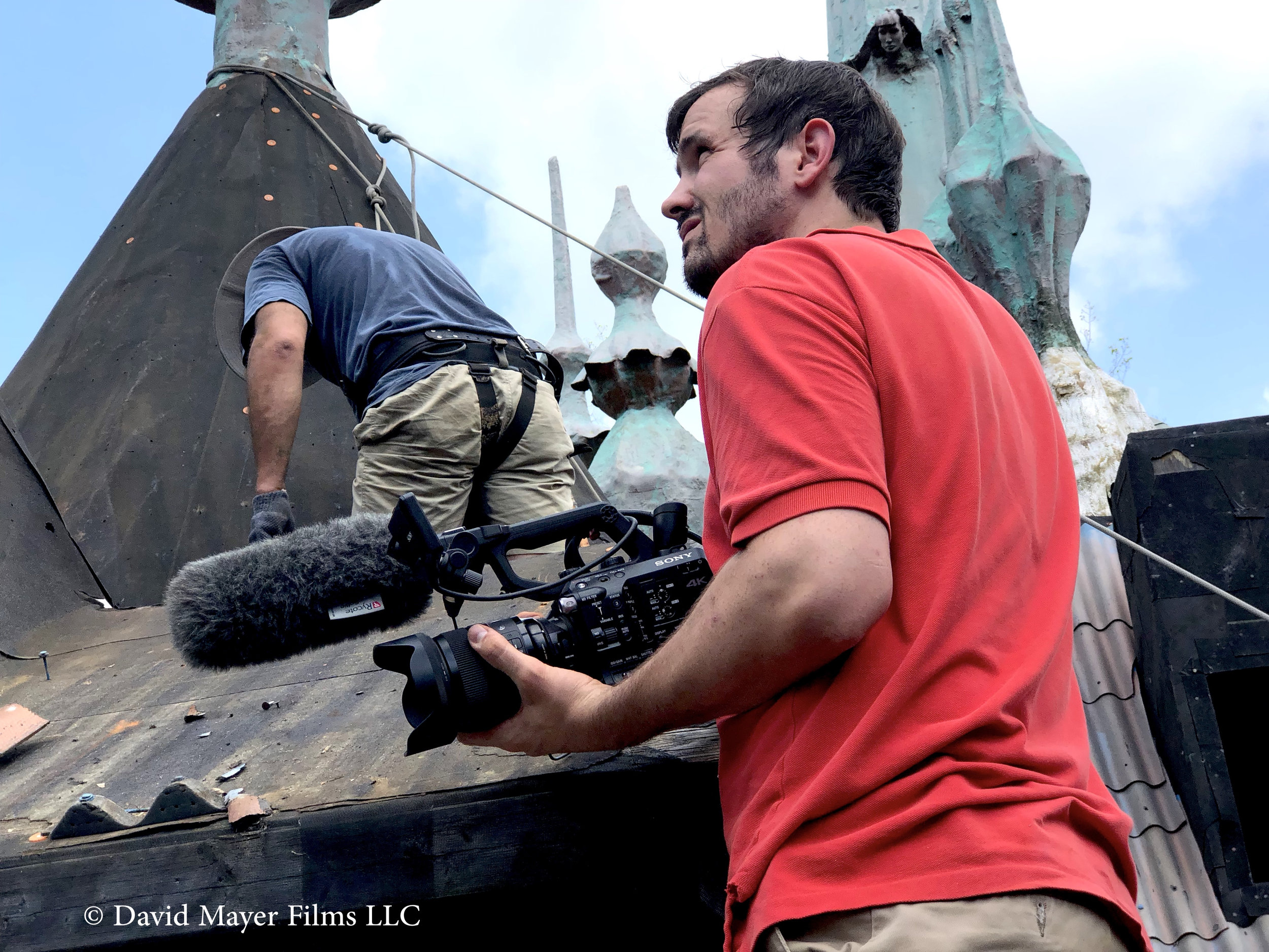 A photo of David Delaney Mayer during production of  The Castle on Red Mountain.   (CRM 2020), SONY 4K, work-in-progress Directed by: David Delaney Mayer Director of Photography: Matt Brondoli Editing: David Delaney Mayer Sound: Matt Brondoli, Jared Neal, Taylor Peterson