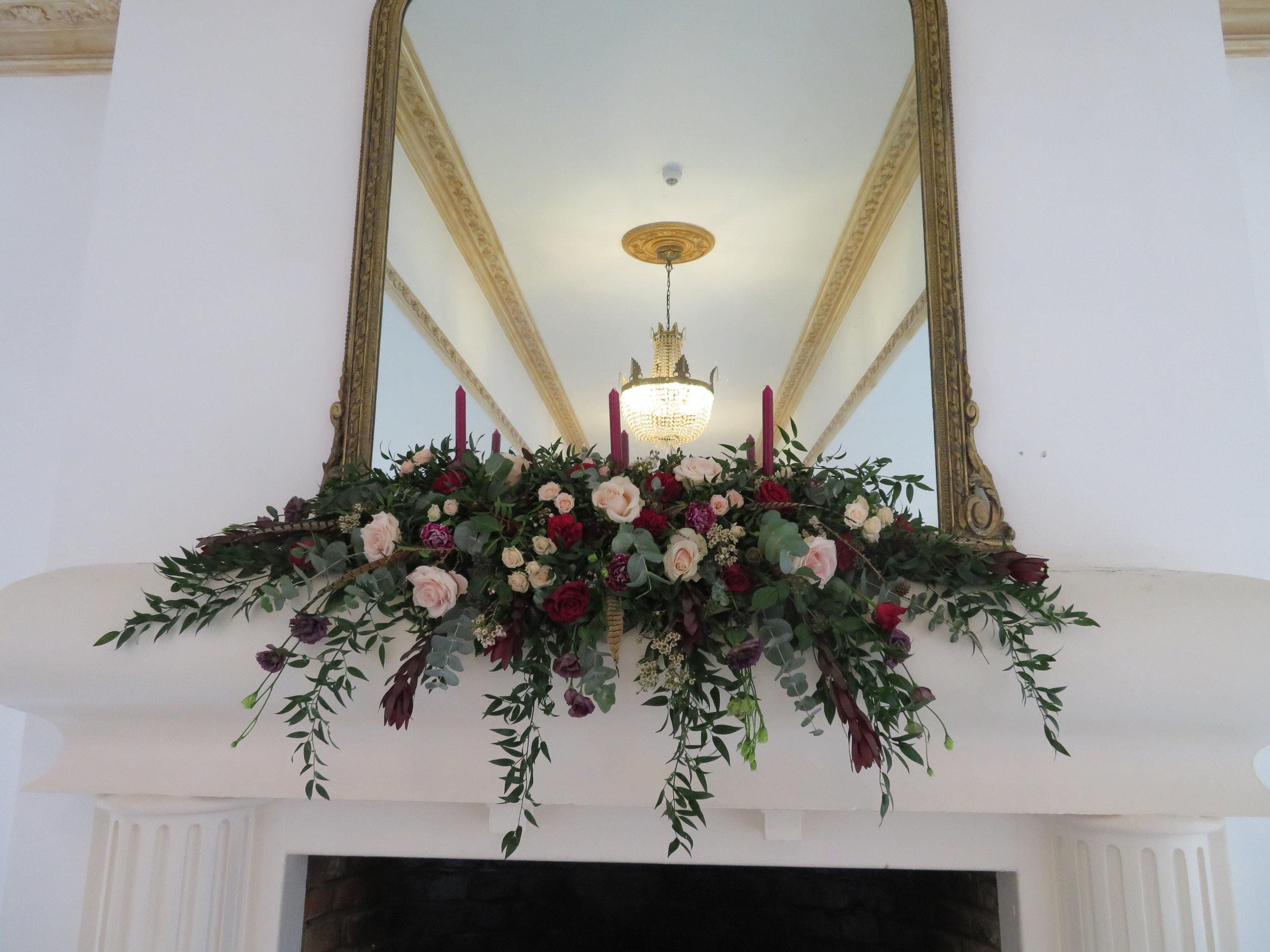 The mantelpiece arrangement which was 6 foot across