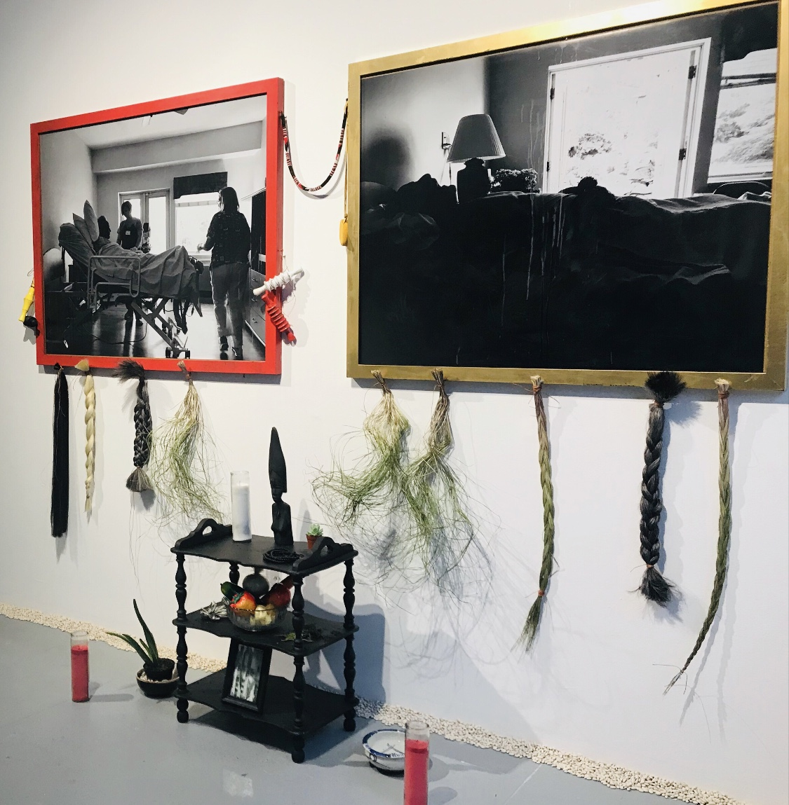 "Akhsó (Grandma): This Is A New Experience, 2019 & Skin Hunger/the Artist As Caregiver, 2018 - —Black & white iPhone image, printed on vinyl; mixed media construction—Sound Piece (originally published Anomaly, Issue 27)EFA PROJECT SPACE 3.27 thru 5.11This site specific intervention of the sacred examines the in-between; the before and after death through the experience of the artist's grandmother, Vivian Murphy. In her own words knowing ""you're about to pass away"" is a new experience. Here, the artist explores the intersections of race, class, gender and the possible meanings associated with the taking of a last breath in a black or brown body aged almost a century in a constructed environment that renders harm through invisibility. Closing out the life you have lived in your raced and gendered body is a ceremony of becoming—a return to human being."