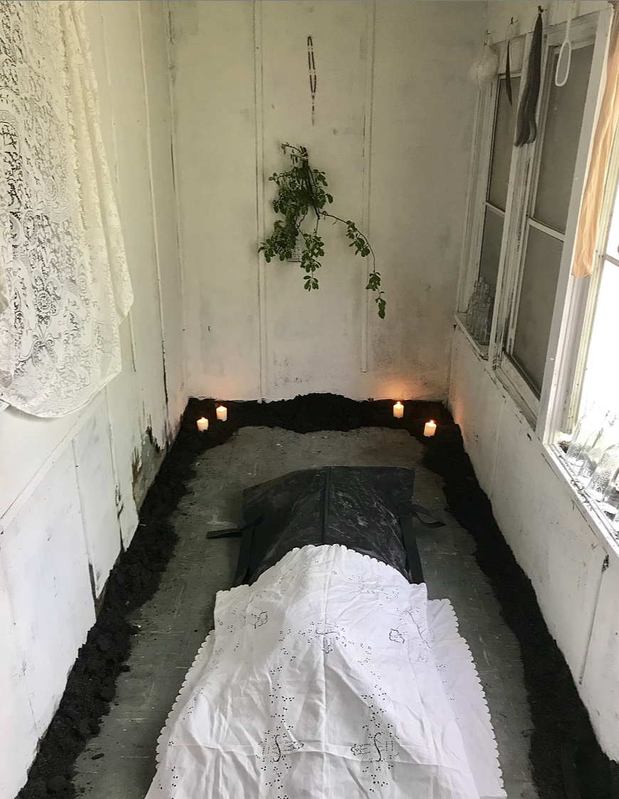 Advanced Decay (Where You At Girl), 2019 - mixed-media construction; dimensions variableRooms to Let CLE  5.18 thru 5.19This site specific sacred space investigates the relationship between vacant or abandoned homes and missing and murdered Black and Indigenous women; exploring the intersections of land, place and the many silences between the viewer and black and brown gendered bodies--the number eleven functions as a form of reverence and remembrance.