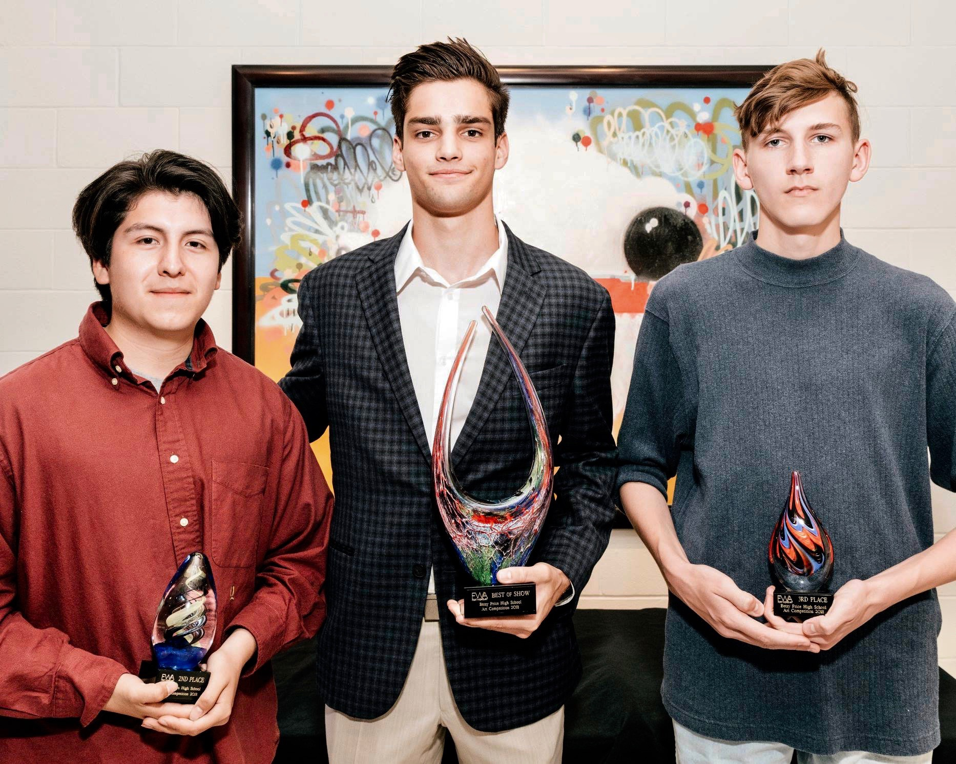 Winners of the 2018 Betsy Price Art Competition left to right: 2nd place winner Camilo Diaz, 1st place winner James Stupfel, 3rd place winner  Will Deshazo