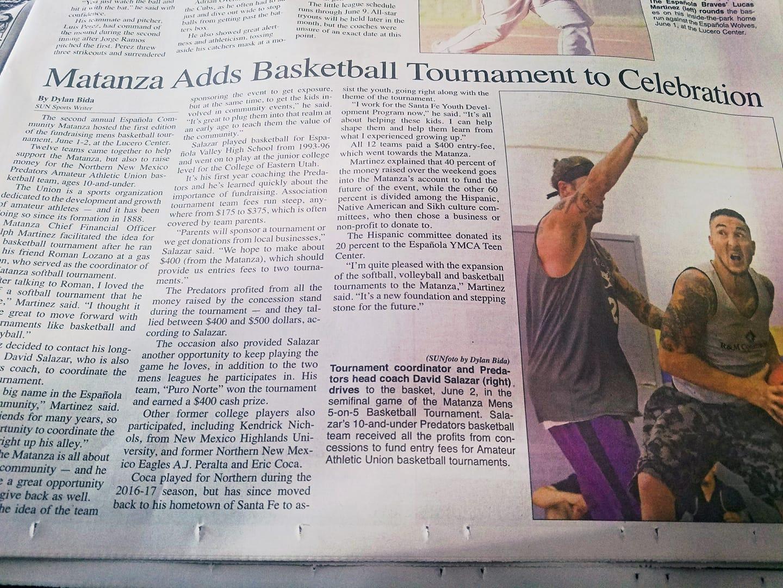 Basketball Tournament article in the Rio Grande Sun