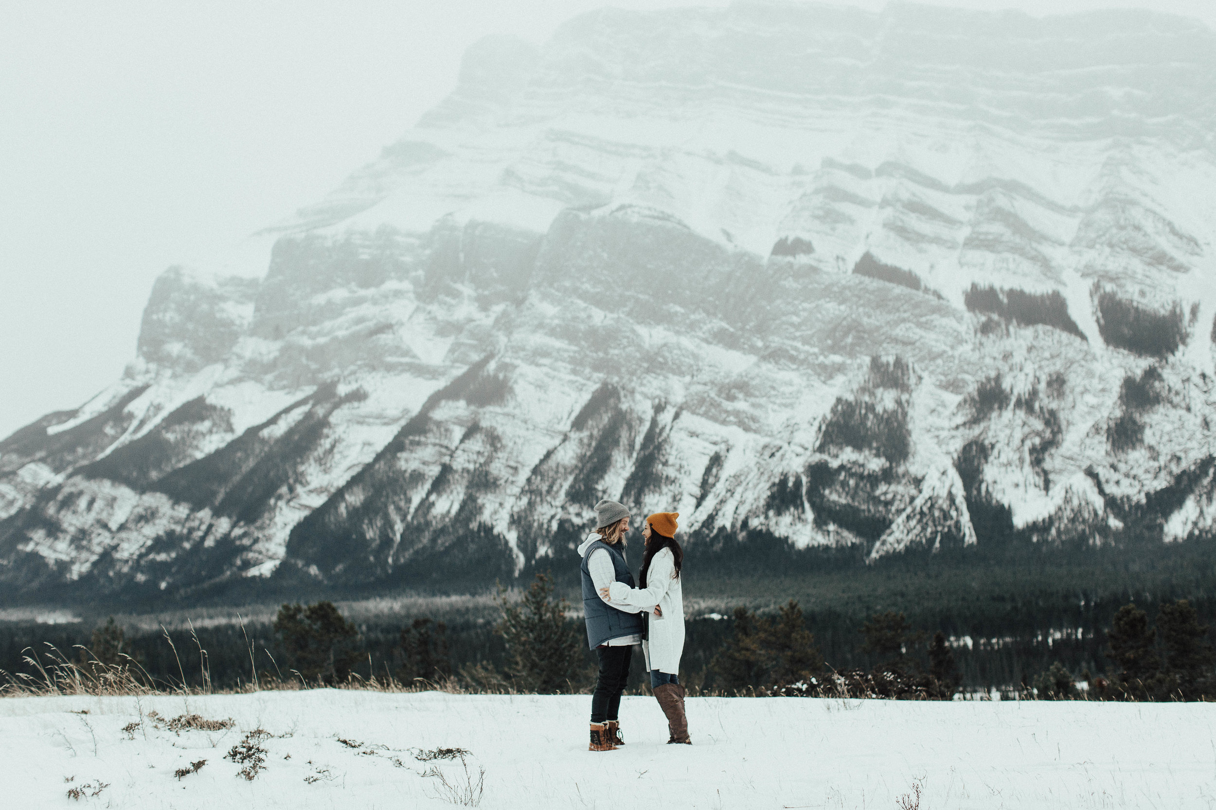 Banff Engagement Photographer - Winter Mountain Adventure Engagement Session - Michelle Larmand Photography-002